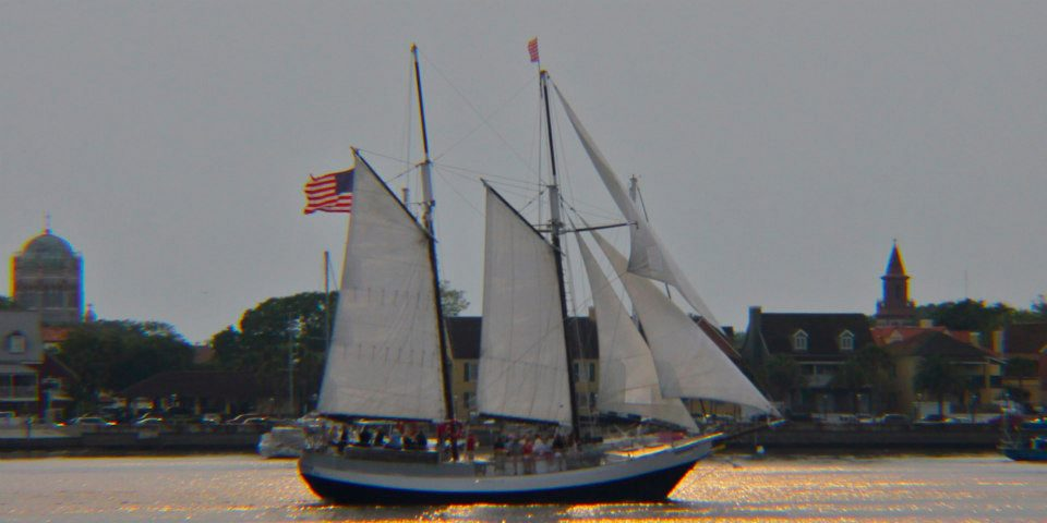 Schooner Freedom sailing past historic St. Augustine.
