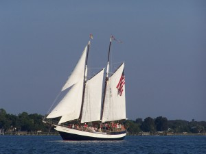 Schooner Freedom under full sail.